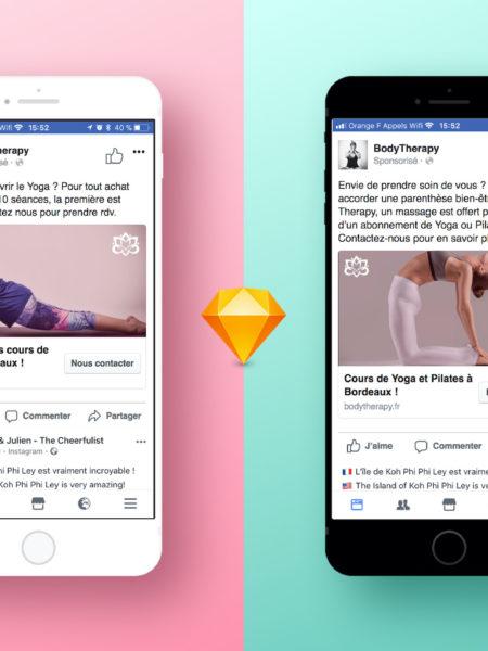 Deux iphones ouvert sur la page Facebook Body Therapy