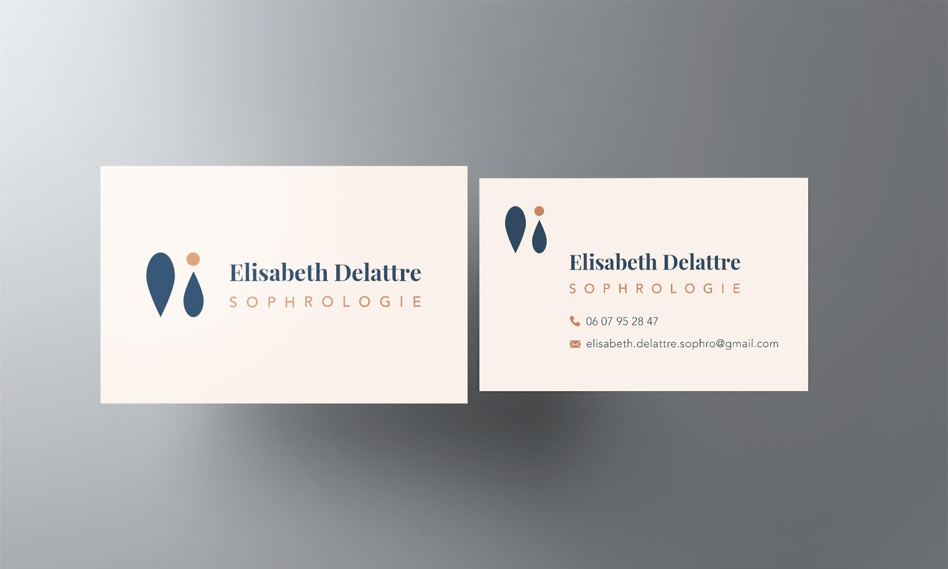 Carte de visite d'ELisabeth Delattre recto verso