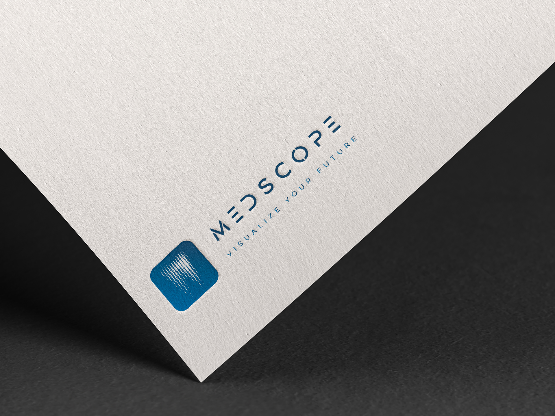 Logo Medscope sur une feuille de papier blanche