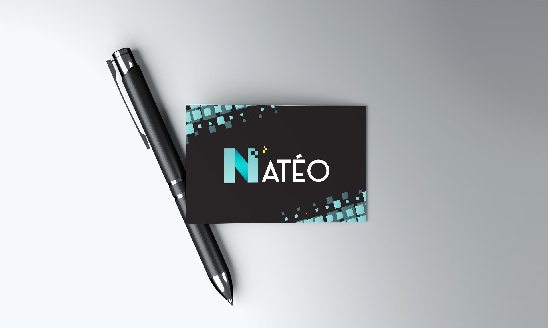 Carte de visite Natéo posée sur un stylo