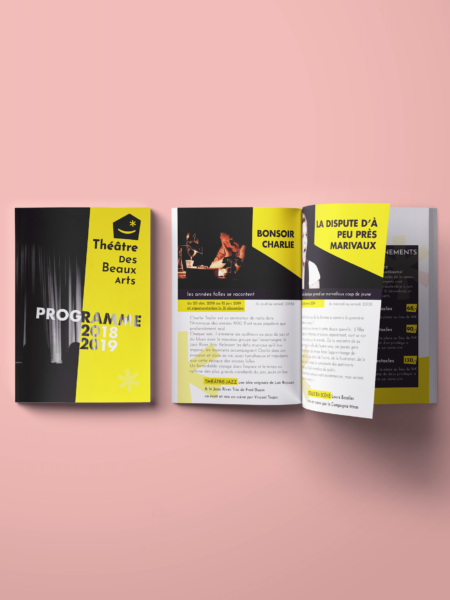 Brochure ouverte noire et jaune du théâtre des Beaux Arts
